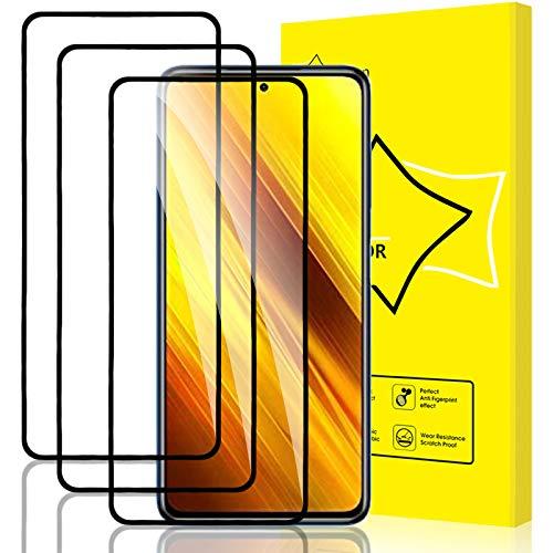GiiYoon-3 Piezas Protector de Pantalla para Xiaomi Poco X3 NFC Cristal Templado,[Sin Burbujas] [Cobertura Completa] [9H Dureza] Vidrio Templado HD Protector Pantalla