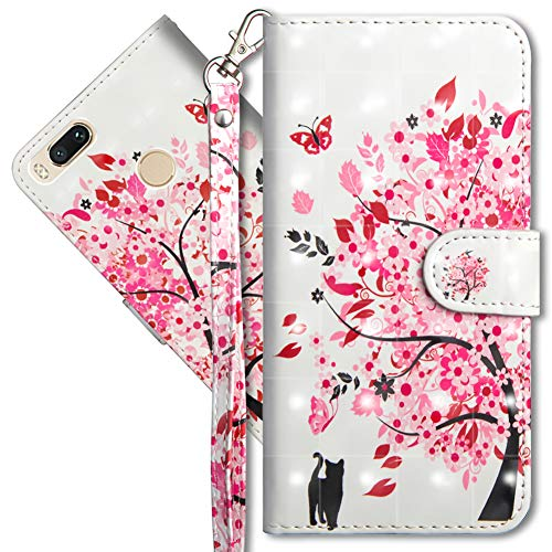 MRSTER Funda para Xiaomi Mi A1, 3D Brillos Carcasa Libro Flip Case Antigolpes Cartera PU Cuero Funda con Soporte para Xiaomi Mi A1 / Xiaomi Mi 5X. YX 3D Tree Cat