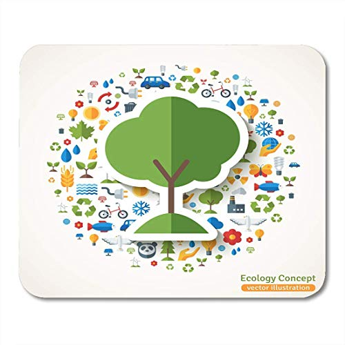 Mauspads Baumsymbol Flacher Aufkleber mit Ökologie Umwelt Grüne Energie und Umweltverschmutzung Speichern Sie den Planeten Öko-Mauspad für Notebooks, Desktop-Computer Mausmatten, Büromaterial