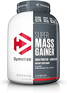 Dymatize Super Mass Gainer Protein Powder with 1270 Calories Per Serving, Gain Strength & Size Quickly, Strawberry, 6 lbs