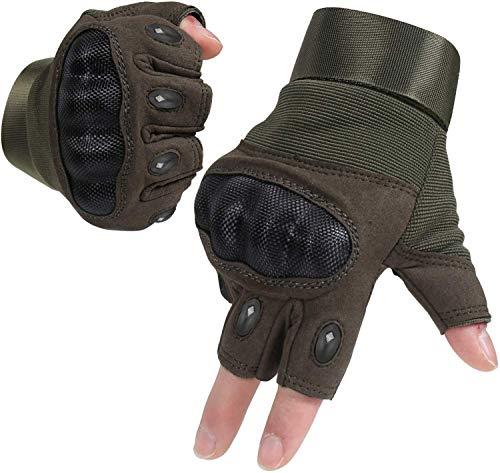 HIKEMAN Handschuhe für Männer und Frauen Touch Screen Hart Knuckle Handschuhe für Outdoor Sport und Arbeit geeignet für Radfahren Motorrad Wandern Klettern Lumbering Heavy Industry(Half Army Green,M)