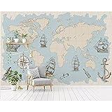 Mapa del mundo náutico 3D Mural Sala de estar Oficina Sala de estudio Decoración de interiores Papel tapiz 3D 450X300cm