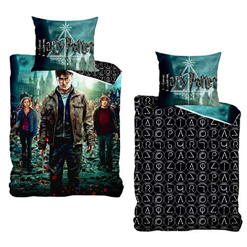 MTOnlinehandel Harry Potter Bettwäsche Bettbezug 135x200 80x80 Baumwolle · Kinderbettwäsche für Mädchen und Jungen · Hauptfiguren Hermine, Harry & Ron · 100% Baumwolle mit YKK Reißverschluss