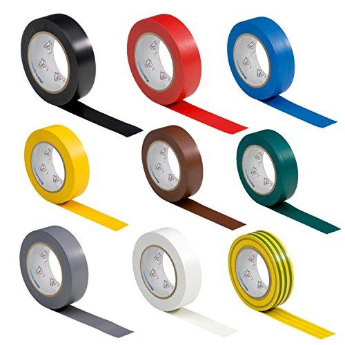AUPROTEC 9 Rollen VDE Isolierband Isoband Elektriker Klebeband PVC 15mm x 10m DIN EN 60454-3-1 Set/Sortiment 9 Farben