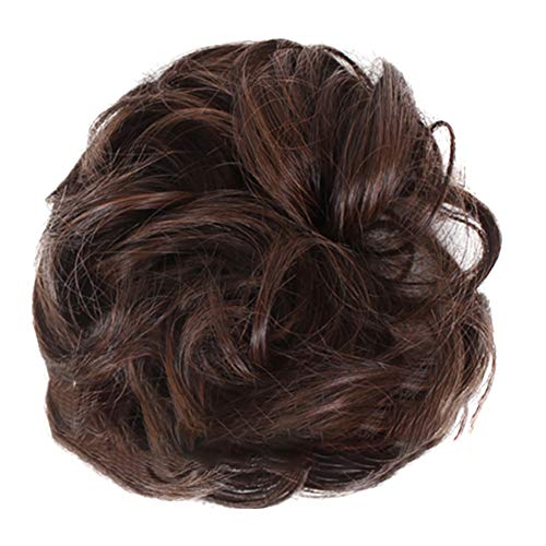 Alexsix Messy Easy to Wear Hair Scrunchies Hair Bun, Messy Curly Dish Extensions Synthetic Wavy Bun Extensions Rubber Band Elastic Scrunchie Chignon I