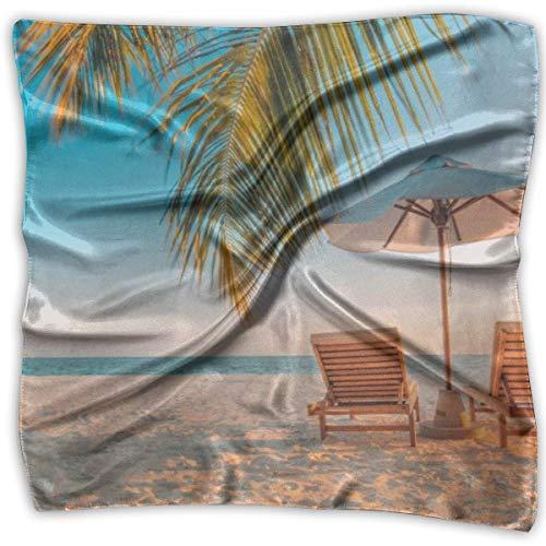Wfispiy Playa Tumbona Dama Impreso Bufanda Cuadrada Tocado Cuello Bufandas De Satén Abrigo Pañuelo De Pañuelo