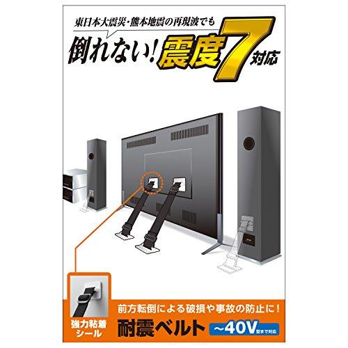 エレコム 耐震ベルト テレビ用 40インチまで対応 強力粘着シールタイプ 2本入 TS-001N2