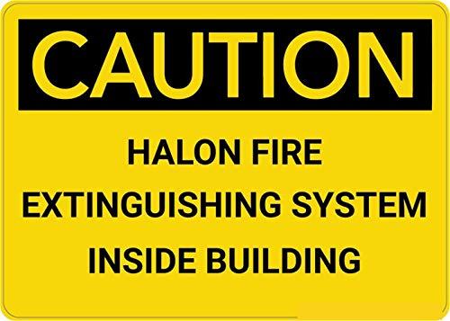 Mesllings Veiligheidswaarschuwing Metalen bord Let op: Emergency Halon Brandblusser 10