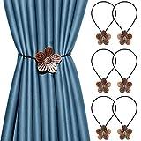 3 Pairs Magnetic Curtain Tiebacks Vintage Flower Hand Carved Holdbacks Decorative Drape Tie Backs Rust-Proof Metal Magnet Drapery Tiebacks for Office and Home (Bronze)