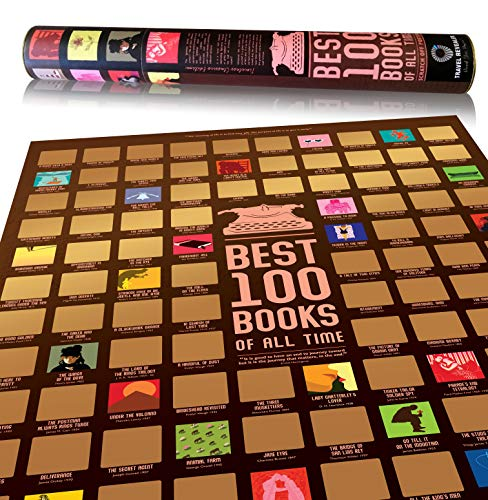 100 Books Scratch Off Poster by Travel Revealer, Best 100 Books Scratch Off Poster, 24x17' Novel...