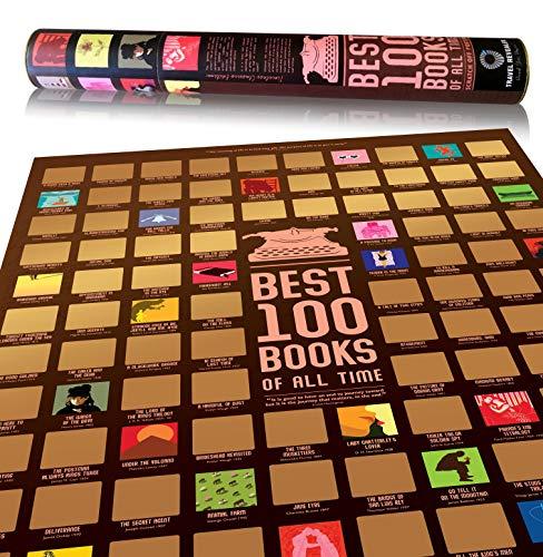 100BooksScratchOffPoster by Travel Revealer, Best 100 Books Scratch Off Poster, 24x17' Novel...