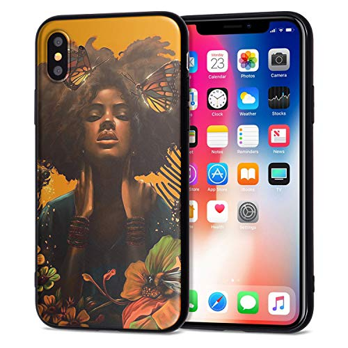 iPhone XR Case African American Afro Girls Women Slim Fit Shockproof Bumper Cell Phone Accessories Thin Soft Black TPU Protective Apple iPhone XR Cases (12)