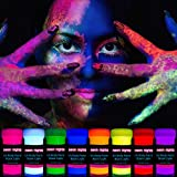 neon nights 8 x UV Body Paint Set | Black Light Glow Makeup Kit | Fluorescent Face Paints for...