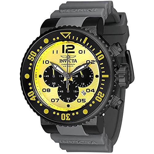 Invicta Ocean Voyager Pro Diver - Reloj de Pulsera para Hombre (Mecanismo de Cuarzo, Esfera Amarilla, Correa de Silicona), Color Gris