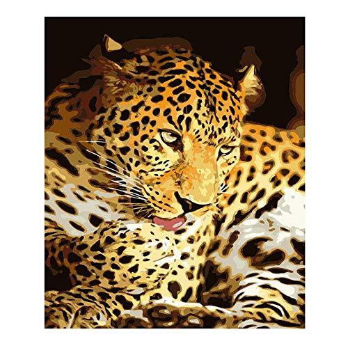 Zhyxia Neue Leopardenblüte 5D DIY Diamantmalerei, Kreuzstich, 5D Diamantmalerei Vollbohrmaschine, Stickerei, Geschenk, Diamantmalerei Kits für 30x40cm