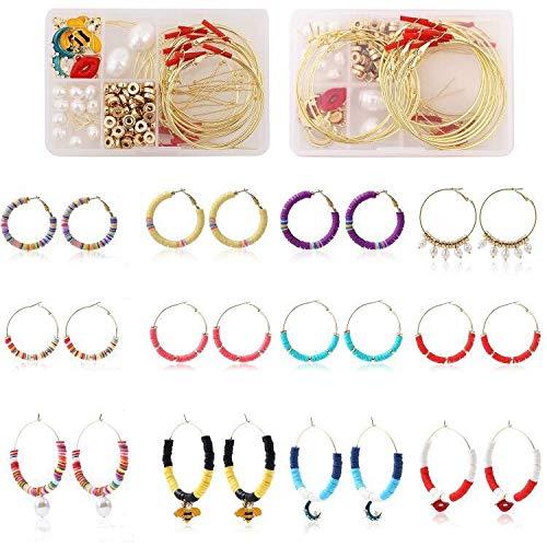 Kits de fabricación de aretes de arcilla polimérica, 10 colores, planos, redondos, de cerámica suave, cuentas Heishi, ganchos para pendientes, colgantes para pendientes DIY