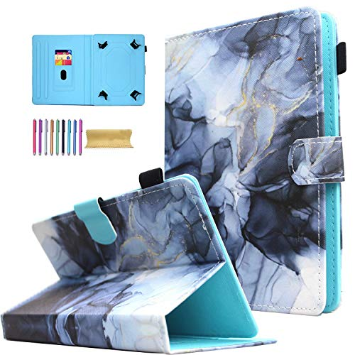 Universal 7.0' Tablet Case, AMOTIE Stand Wallet Case Cover for Galaxy Tab E 7.0/ Tab A 7.0/ Fire 7.0/Oasis/Lenovo/RCA Voyager and More 6.5-7.5 inch Tablet, Black Marble