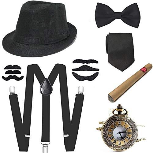 E EBETA Set di Accessori Anni 1920s per Costume da uomop, Gatsby Gangster Costume Kit con Cappello Panama, Elastica Bretella Y-Back, Farfallino, Sigaro, Orologio da Taschino Vintage, Baffi Finti (B)