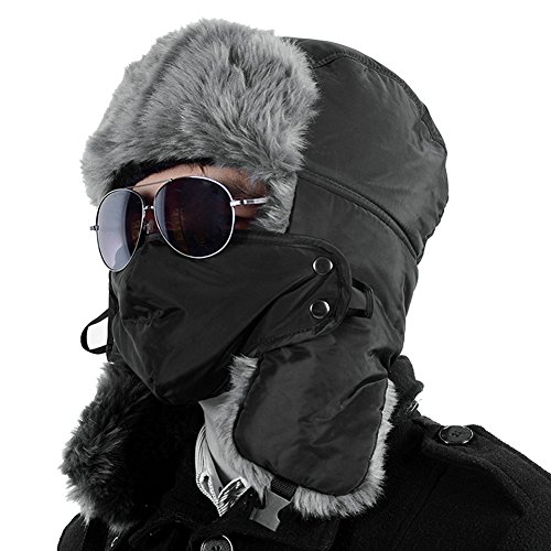 CHIC-Cagoule Homme Femme Hiver Chaud Sport de Plein Air Masque de Cou Visage Protection Outdoor Randonnée Camping Ski Moto Vélo VTT (Noir, Tour de tête: 50-63cm)