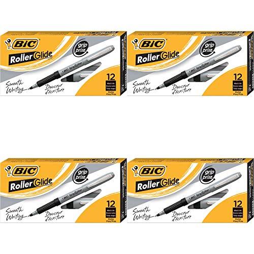 BIC Roller Glide Grip Bolígrafo, punta fina (0,7 mm), negro, 12 unidades – 4 unidades