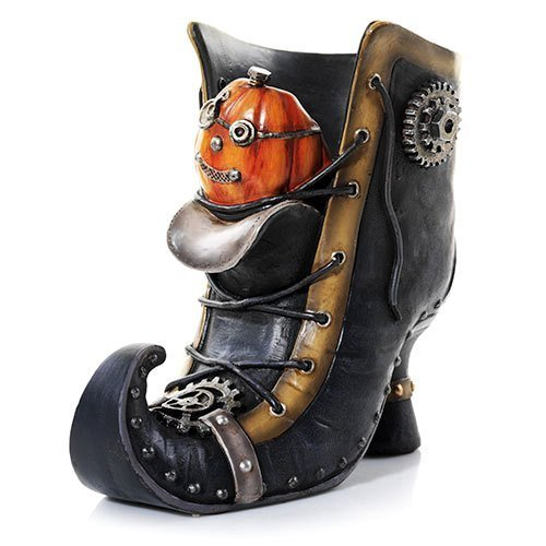 Yankee Candle Steam Punkin Boot Jar Holder - Decorative Pumpkin in Boot Halloween Candle Holder - Fits All Large and Medium Housewarmer Jar Candles