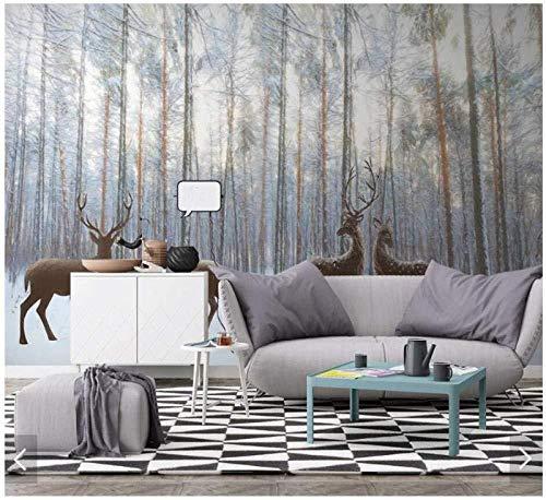 ZZXIAO Nordic Forest Wood Plank-Mural de papel tapiz para sala de estar Sofá TV Fondo-Pared 3D Foto Papel t Sala de estar para cocina Decoración Fotomural sala Pared Pintado Papel tapiz-350cm×256cm