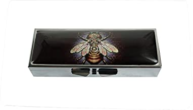 Hiutong Steampunk Bee Custom Rectangle Silver Glass Pill Case Decoration Metal Medicine Vitamin Tissue Unique Gift