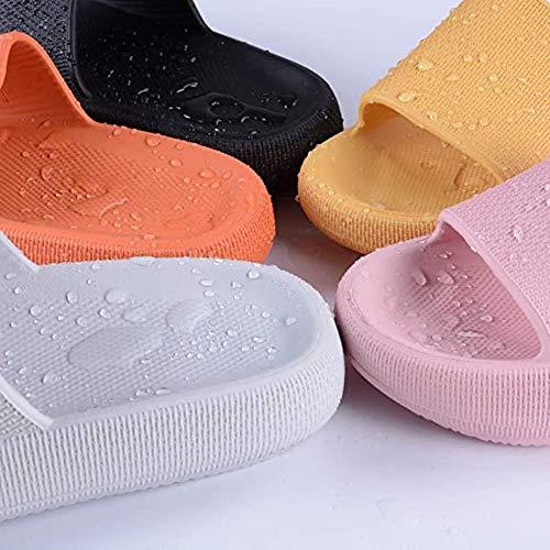 Zapatillas de almohada para mujer, súper suaves, antideslizantes, de secado rápido, suela gruesa (negro, 7)