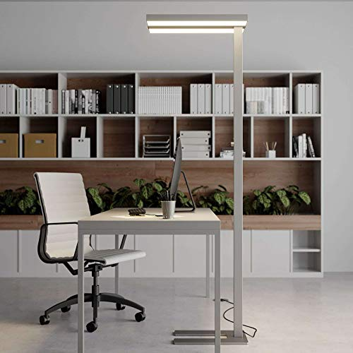 Arcchio LED Stehlampe \'Logan\' dimmbar (Modern) in Alu aus Aluminium u.a. für Arbeitszimmer & Büro (2 flammig, A+, inkl. Leuchtmittel) - Büro-Stehleuchte, Bürolampe, Arbeitsplatzlampe, Standleuchte