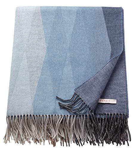 ESPRIT Rombo Plaid Decke Wohndecke Kuscheldecke Tagesdecke Sofadecke Wolldecke Couchdecke - Größe 150x180 cm - Farbe lila/blau