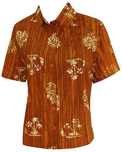 LA LEELA handgemachte Batik Frauen Casual Aloha Knopf unten Bluse Baumwolle Kurzarm-Shirt Senf s