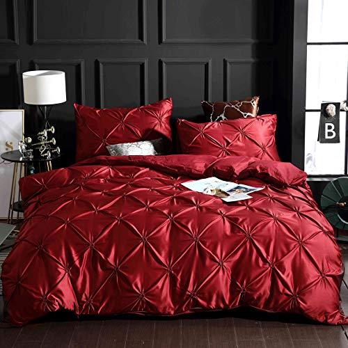 Fansu Housse de Couettes 2 Personnes Parure de lit avec Couette plissée, 3 Pièces Soie lavée Ensemble de Literie avec 1 Housses de Couettes 2 Taies d'oreillers (220x240cm,Rouge)