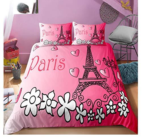 QGHZSCS Duvet cover set 3D Paris Tower Love decorative 3 piece Microfibre Bedding Set Soft and breathable,With zipper, 2 Pillowcases, 200x200 Cm