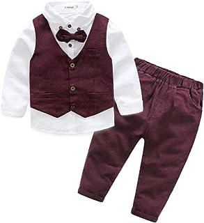 fbacff7ade696 BOBORA Costume Garcon Mariage, 3PCs Tenues de Gentleman T-Shirt à Manches  Longues avec