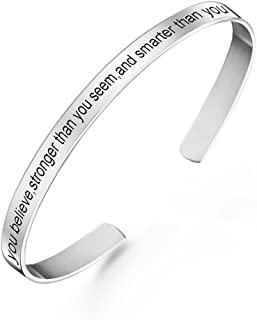 Sterling Silver Personalized Engraved Messages Cuff Bangle Bracelet Inspirational Jewelry Gifts for Women