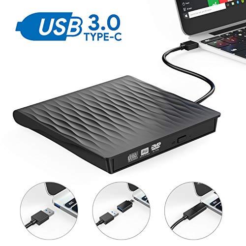 Grabadora DVD Externa, AUCEE USB 3.0 Tipo-C Puerto Dual Unidad CD/DVD Externa Portátil con Diseño Antichoque Capacidad de Corrección de Errores Compatible con Win10/7/8/XP/Vista/Linux/Mac OS (Negro)