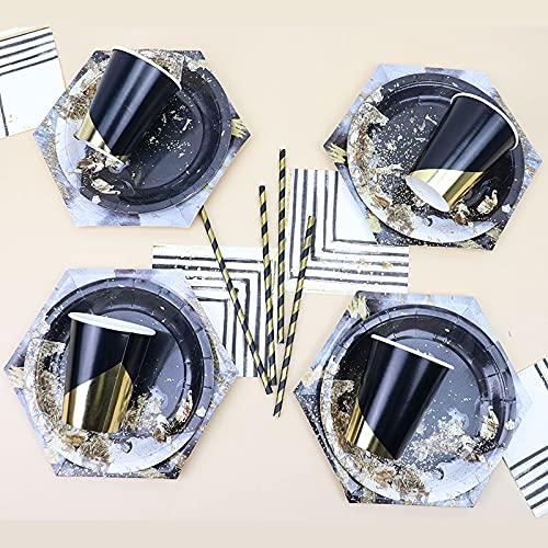 PPuujia Vajilla desechable 65 piezas/set de vajilla desechable de mármol negro, platos de papel para bodas, fiestas de cumpleaños, decoración de baby shower Suministros (color 65 piezas)