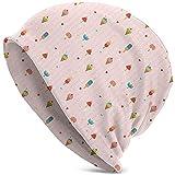 Cappello Unisex Berretto Lavorato a Maglia Cappelli Berretto Teschio, Sfondo a Righe Rosa Pastello con Cuori Diversi condimenti su Bastoncini e Coni