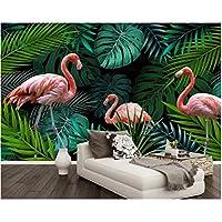 Iusasdz カスタム壁紙ウォールステッカーハンドグリーン描かれた熱帯雨林フラミンゴ壁画3D壁紙-280X200Cm