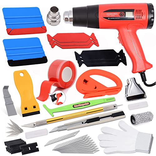 Vinyl Wrap Tool Kit with Heat Gun for Vinyl Wrap & Window Tint, Auto Vinyl Applicator Film Tinting Installation Set, Wrap Tools Include PPF Squeegee, Vinyl Scraper, Film Cutter, Gloves and Finger Cot