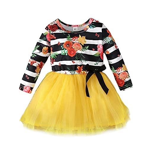 Disfraz de Halloween de manga larga con tutú para niña, vestido de tul, princesa, faldas, ropa de otoño, amarillo, 2-3 Años