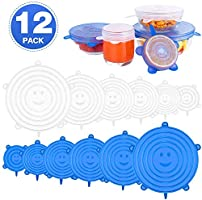 Emmabin Silicone Stretch Lids, Silicone Food Covers Fit Various Sizes of Containers, Dishes, Bowls, Safe in Dishwasher,...