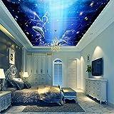 Rureng Fondo De Pantalla 3D Personalizado Fantasy Sky Angel Flying Fish Mural En El TechoHabitación De Niños Acuario Patio De Juegos Dormitorio Dormitorio Techo Papel Tapiz-350X250Cm