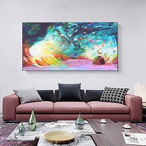 KWzEQ Nordische Märchenhirschrosa Wandkunstmalerei und niedliche Leinwandplakat Wohnzimmerschlafzimmer-Hauptdekoration,40X70cm,Rahmenlose Malerei
