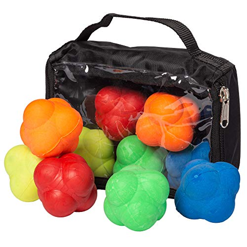 Reaction Balls, 5-Pack - Red, Yellow, Blue, Green, & Orange Agility Trainers with Nylon Bag - Colorful Hi-Bounce Rubber Tools for Team Sports, Personal Training, Coaching, Intramurals, and Workouts
