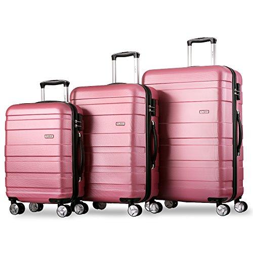 Flieks Kofferset Hartschalen 3 teilig Reisekoffer 3 TLG. Zwillingsrollen Trolleys mit Zahlenschloss, Gepäck-Sets mit 4 Doppel-Rollen,...