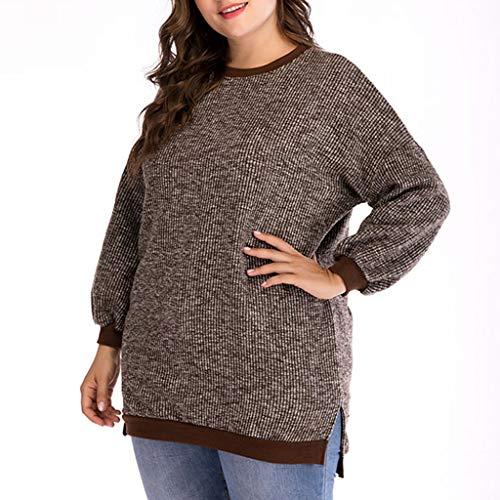 L9WEI@Jersey Suéter de Gran tamaño para Mujer, Jerseys de Cuello Redondo, suéter de Punto, suéter Suelto para Mujer, otoño Invierno, Top de Manga Larga, Jersey, Tops, Top Informal