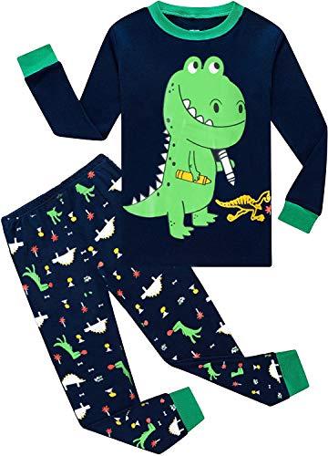EULLA Schlafanzug Jungen Kinder Langarm Baumwolle Dinosaurier Traktor Bagger Feuerwehrauto Zweiteiliger Pyjama Set Nachtwäsche 1-7 Jahre 92 98 104 110 116 122 D-Dunkelblau Dinosaurier DE 116