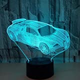 Night Light Color Sports Car Gift for Kids 3D Illusion Lamp with 7 Colours Changing and Remote Control LED Night Light...