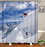 ChickwinDuschvorhangWasserdichtAnti-SchimmelSchneemann Shower Curtain Waschbar PolyesterBadezimmer Gardinenmit12DuschvorhangringefürWeihnachten BadezimmerDecor (Ski,120x180cm)
